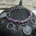 Bransoletki Srebrna bransoleta z fasetowanymi rubinami