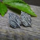 Kolczyki srebrne,sztyfty,liście,natura,minimalistyczne