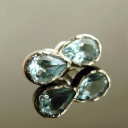 kolczyki,srebro,sztyfty,topaz - Kolczyki - Biżuteria