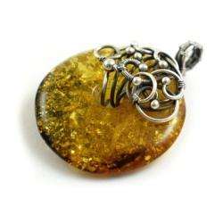 wisior,bursztyn,wire-wrapping,srebrny,elegancki - Wisiory - Biżuteria
