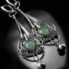 Kolczyki srebrne,kolczyki,wire-wrapping,chryzopraz,zielone