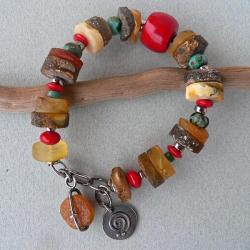 surowy bursztyn,z koralem,turkusy - Bransoletki - Biżuteria