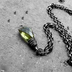 oliwkowy,zielony,z kwarcem,delikatny,nowoczesny - Naszyjniki - Biżuteria