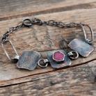 Bransoletki srebrna bransoleta z rubinem