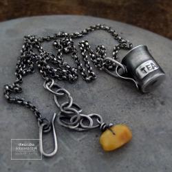 srebro,kubek,tea,herbata,bursztyn - Naszyjniki - Biżuteria