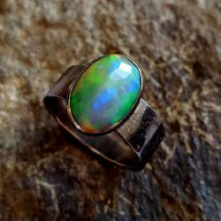opal,blask,srebrny,srebro,zielony,tęczowy,retro, - Pierścionki - Biżuteria