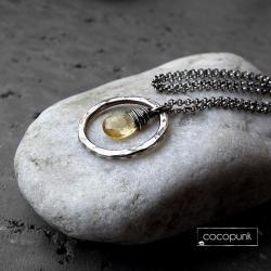 okrągły,z cytrynem,oksydowany,kobiecy,srebrny - Naszyjniki - Biżuteria