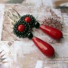 Kolczyki kolczyki,długie,koral,jadeit,czerwone,Extrano
