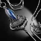 Naszyjniki srebrny,naszyjnik,wire-wrapping,kianit,niebieski