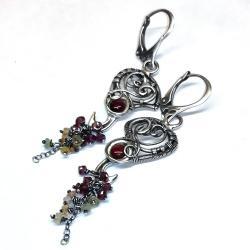 drobne kolczyki z oponakmi szafiru,rubelitu - Kolczyki - Biżuteria