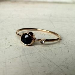 pierścionek,złoto,akwamaryn,szafir gwiaździsty - Pierścionki - Biżuteria