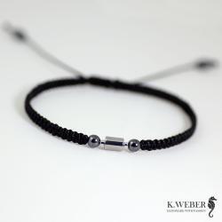 bransoletka,hematyt,srebro,minimalizm,męska - Dla mężczyzn - Biżuteria