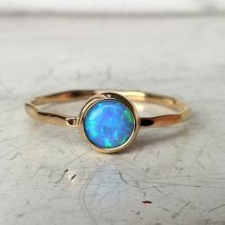 pierścionek,złoto żółte,opal - Pierścionki - Biżuteria