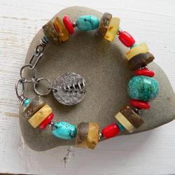 z bursztynem,srebro kute,koral - Bransoletki - Biżuteria