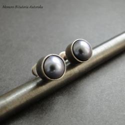 srebro,perły,sztyfty,eleganckie - Kolczyki - Biżuteria