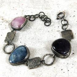 srebrna,kolorowa bransoleta - Bransoletki - Biżuteria