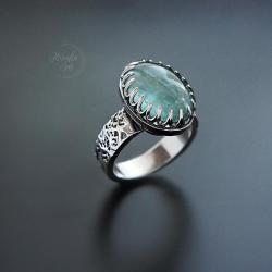 srebrny,pierścionek,z akwamarynem - Pierścionki - Biżuteria