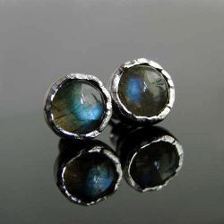 srebro,labradoryt,kolczyki,styfty - Kolczyki - Biżuteria