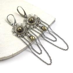 kolczyki,długie,rozety,piryt,eleganckie - Kolczyki - Biżuteria