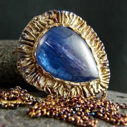 srebro,kyanit,naszyjnik,wisior - Naszyjniki - Biżuteria