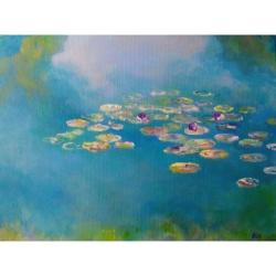niebieski,szary,zielony,nenufary,lilie wodne - Obrazy - Wyposażenie wnętrz