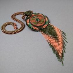 unakit,z frędzlami,zielony,pomarzńczowy,haft - Naszyjniki - Biżuteria