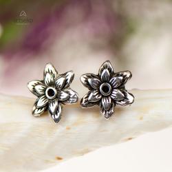 srebrne sztyfty,kwiat srebrne,artseko - Kolczyki - Biżuteria
