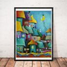Obrazy koty,abstrakcja,domki