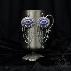 orientalne,bollywood,wieczorowe,labradoryt,srebrne - Kolczyki - Biżuteria