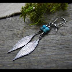 srebrne,liście,turkusowe,radecka art - Kolczyki - Biżuteria
