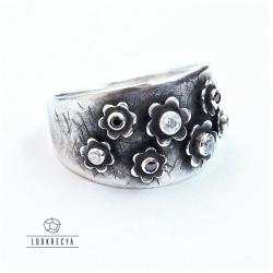 oryginalny pierścionek,trójwymiarowa łąka - Pierścionki - Biżuteria