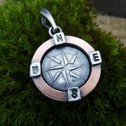 kompas,róża wiatrów,talizman,amulet,miedziany - Wisiory - Biżuteria