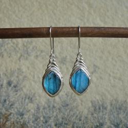 niebieskie kolczyki,labradoryty - Kolczyki - Biżuteria