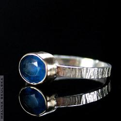 pierścionek,apatyt,złoty,srebrny,ryflowany - Pierścionki - Biżuteria
