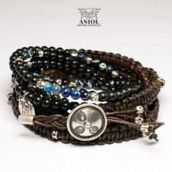 bransoleta skórzana,biżuteria męska,koraliki - Dla mężczyzn - Biżuteria
