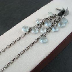 lśniące,akwamaryn - Kolczyki - Biżuteria
