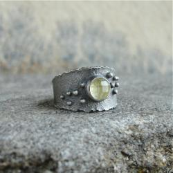 surowe srebro,kwarc,obrączka - Pierścionki - Biżuteria