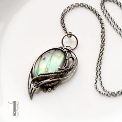 naszyjnik srebrny,naszyjnik z labradorytem - Naszyjniki - Biżuteria