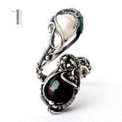 pierścień srebrny,perły,wire wrapping,925 - Wisiory - Biżuteria