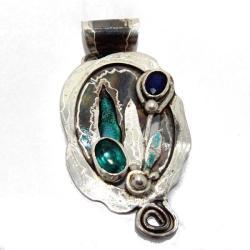 Wisior Srebrny z Topazem Zielonym i Szafirem - Wisiory - Biżuteria