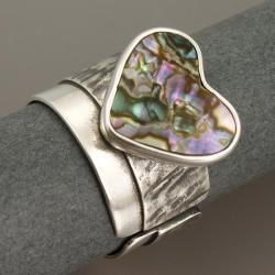 srebrny pierścionek z muszlą paua - Pierścionki - Biżuteria