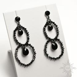 ażurowe,swarovski,czarne,błyszczące,wieczorowe - Kolczyki - Biżuteria