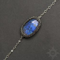niebieska,delikatna,efektowna,ogień,na łańcuszku - Bransoletki - Biżuteria