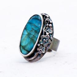 pierścionek srebrny,pierścionek z labradorytem,art - Pierścionki - Biżuteria