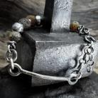 Bransoletki srebrna z surowymi bursztynami