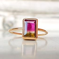 pierścionek,złoto,turmalin arbuzowy, - Pierścionki - Biżuteria