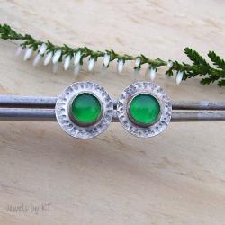 lekkie,sztyfty,zielone,okrągłe - Kolczyki - Biżuteria
