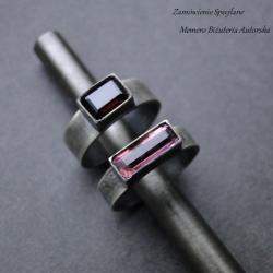 srebro,turmalin,granat,surowe,oksydowane - Pierścionki - Biżuteria