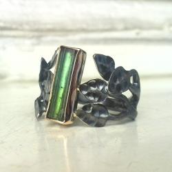 pierścionek,srebro,złoto,turmalin, - Pierścionki - Biżuteria