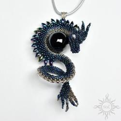 smok,baśniowy,niebieski,fantasy,gra o tron,onyks - Wisiory - Biżuteria